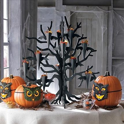 Halloween table decoration hallloween tree black tree pumpkins