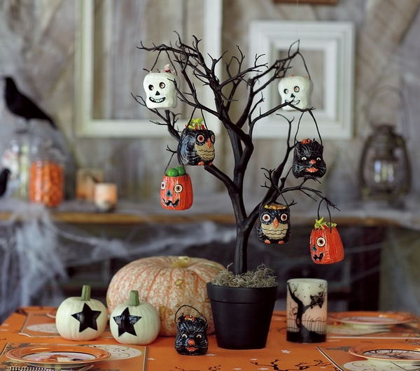 ideas black tree black flower pot pumpkins