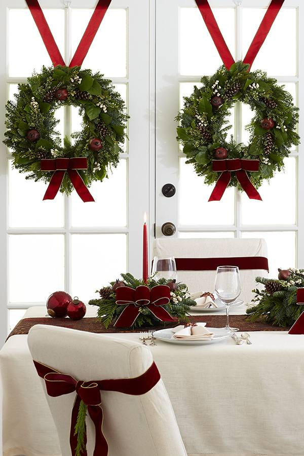 christmas wreaths on french doors hanger ideas red ribbons