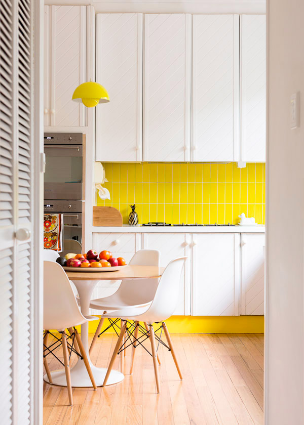 home yellow tiles white cabinets