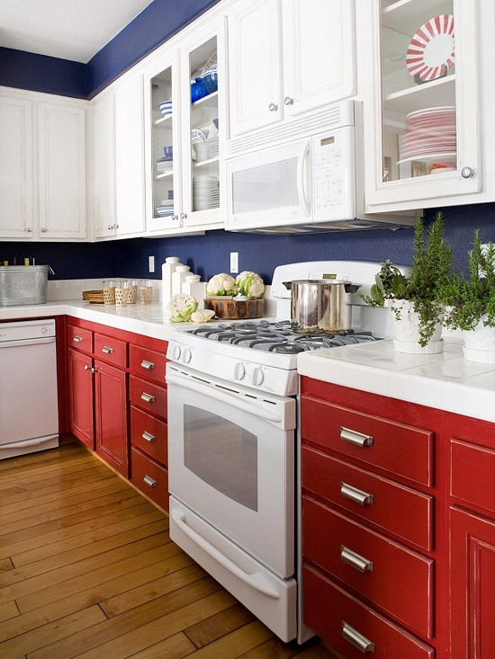 Kitchen-renovation-ideas-red blue white cabinets