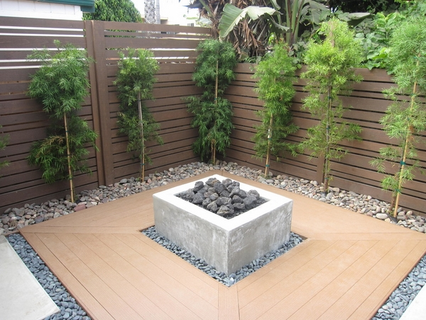 small patio design plastic decking fire pit privacy fence