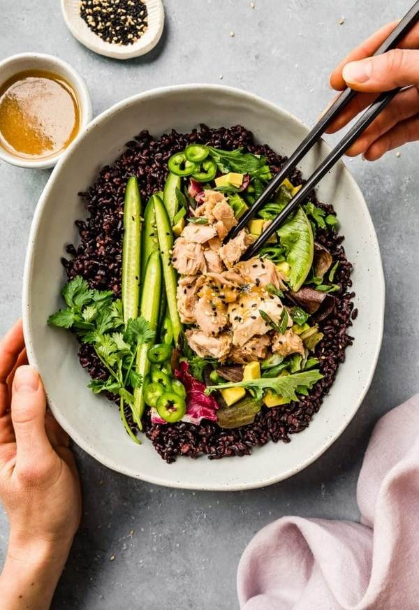 Asian Style Tuna Salad with Honey and Miso Dressing