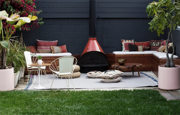 small patio ideas freestanding fireplace lounge built in benches