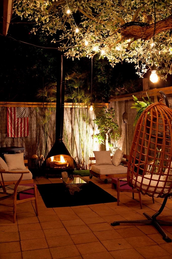 small patio ideas freestanding space saving fireplace design
