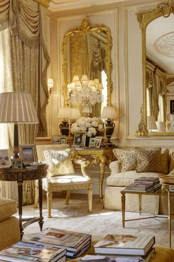 beautiful French style mansion living room ideas