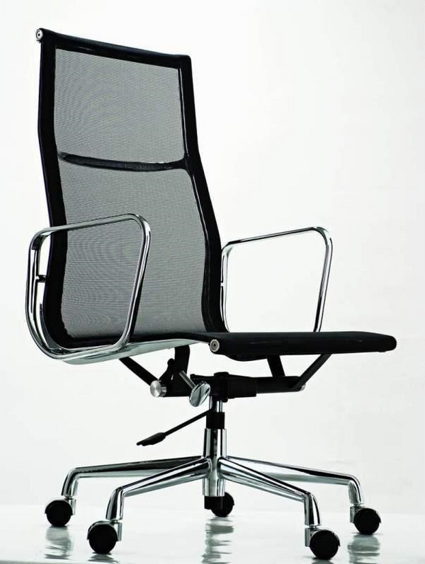 black chair high back stainless steel armrests