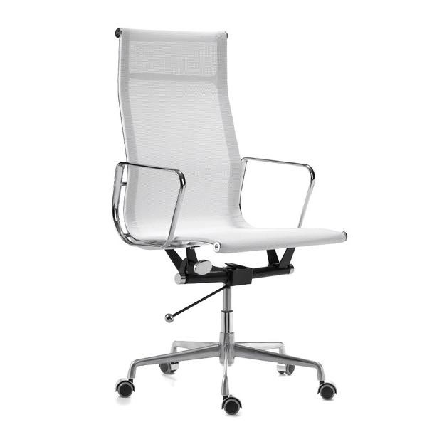 white chair high back stainless steel armrests
