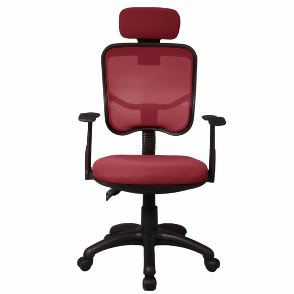 red mesh office chair high back head support