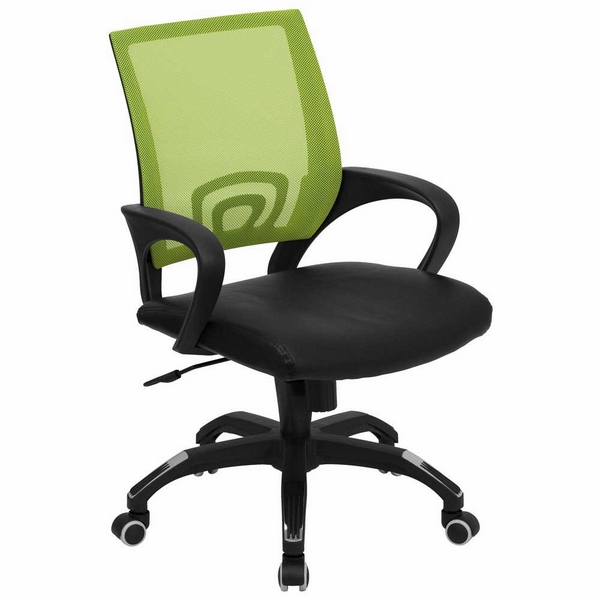 office chair green back black seat