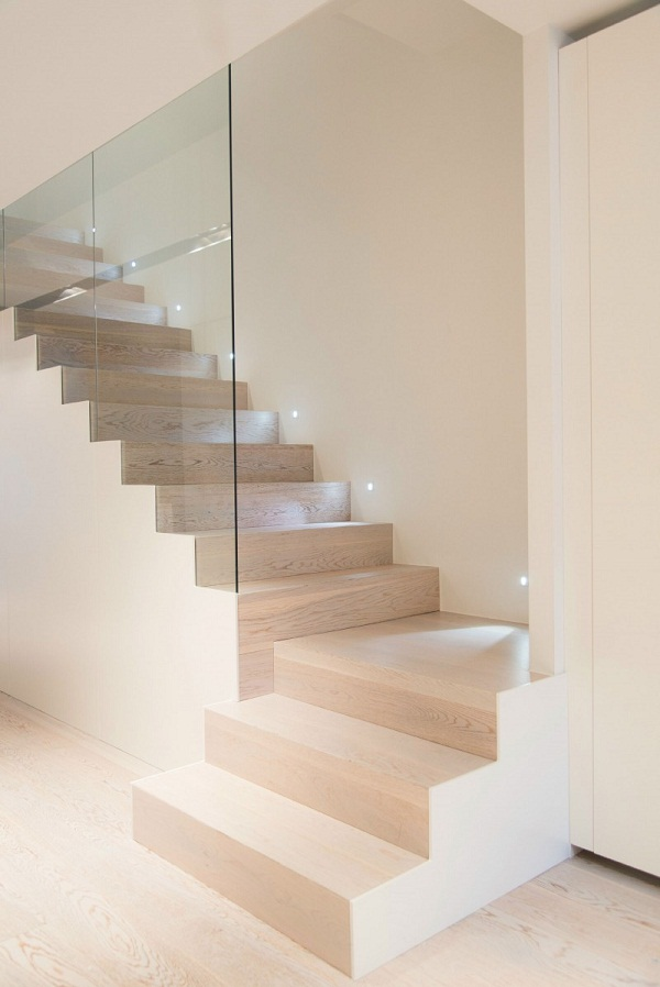 contemporary home staircase wood glass wall Cervantes House