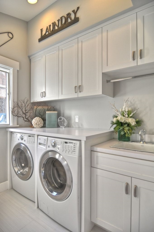 Modern laundry cabinets and practical storage solutions