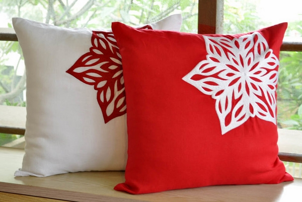 modern decorative pillows ideas red white colors