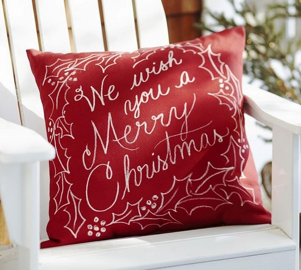 with text red pillow festive greeting
