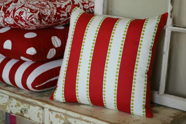 decorative pillows traditional red white colors stripes