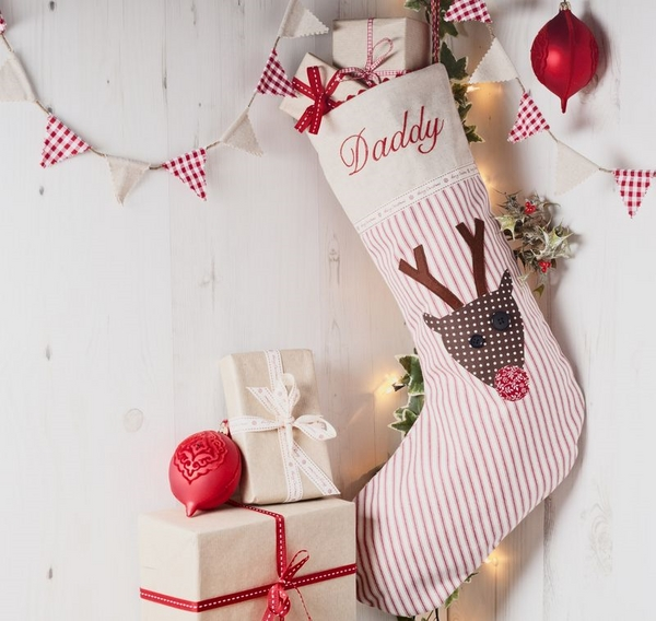 DIY -personalised-christmas-stockings-red white striped fabric reindeer
