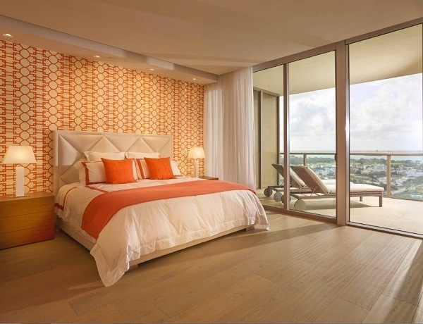 positive color schemes for bedrooms orange shades accent wall