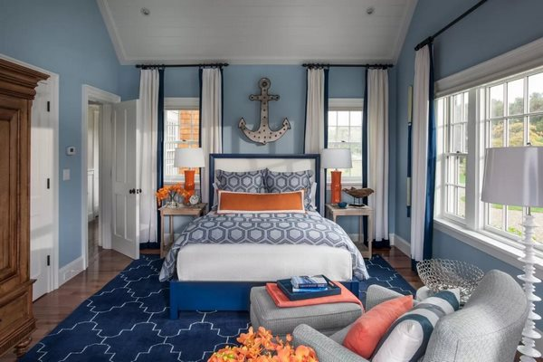 Complementary color schemes contrasting combinations blue and orange bedroom decor