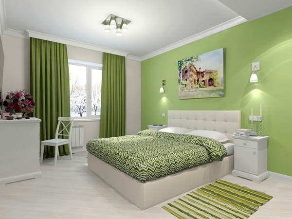 green bedroom accent wall color scheme ideas