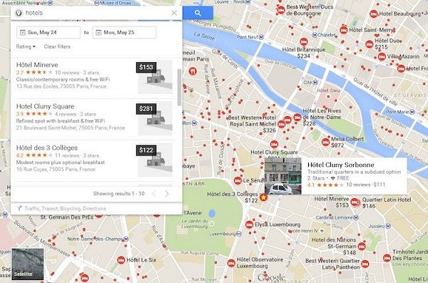 use google maps to find a hotel near you