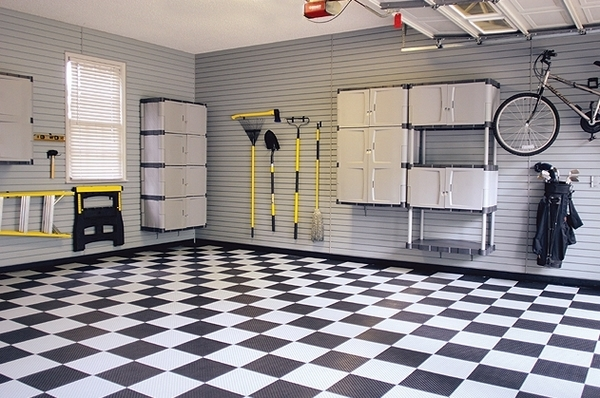 motofloor garage tiles checkered pattern garage floor ideas