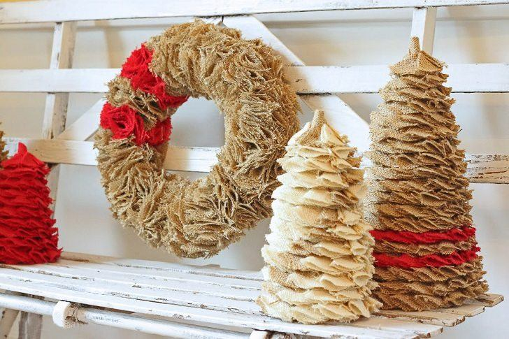 burlap christmas tree burlap ornaments christmas craft ideas