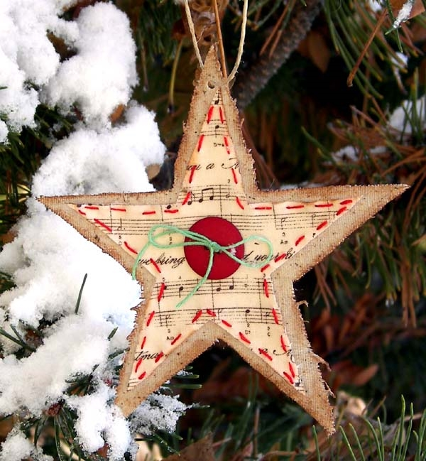 burlap tree ornaments diy tree ornaments star