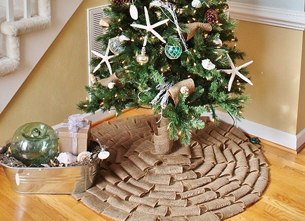 tree burlap ornaments diy tree skirt
