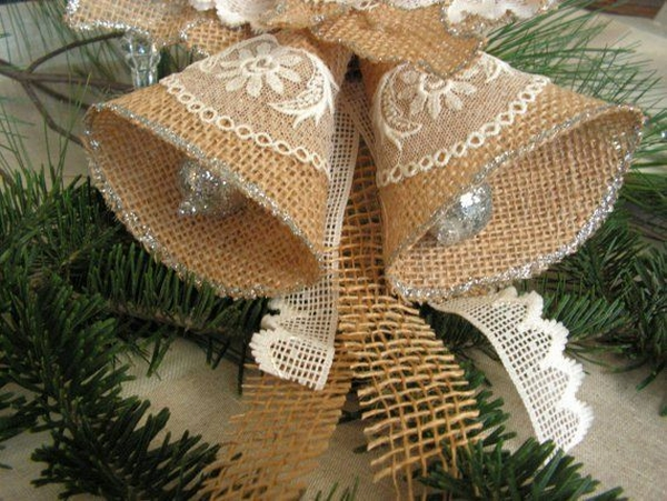 burlap christmas tree burlap ornaments christmas bells diy