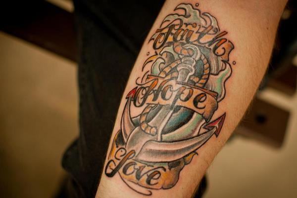 faith love hope tattoo on arm ideas for men