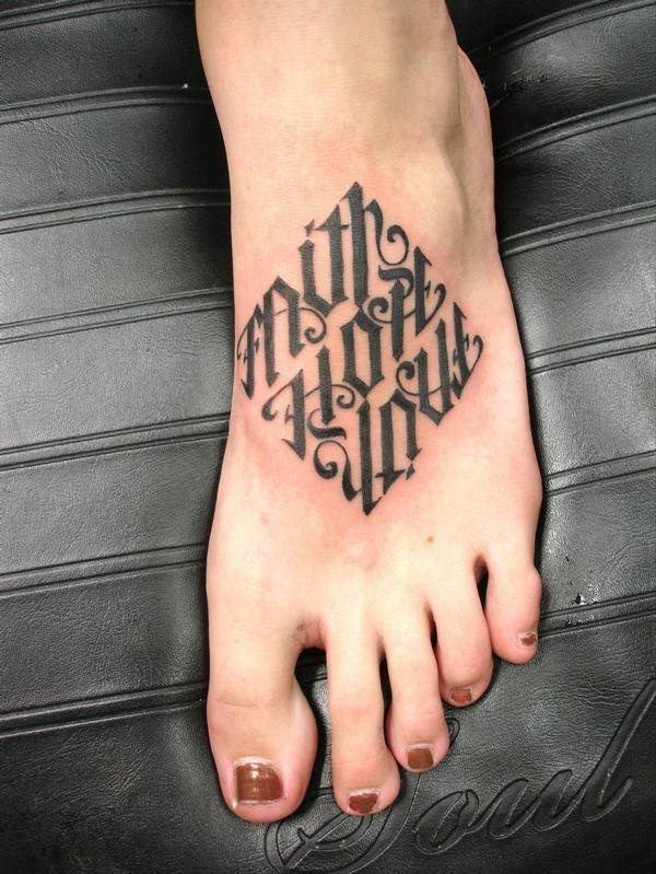 original faith hope love ambigram tattoo design on foot