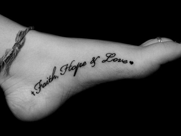 foot inscription tattoo faith hope love