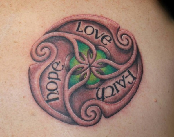 Celtic style hope love faith text tattoo