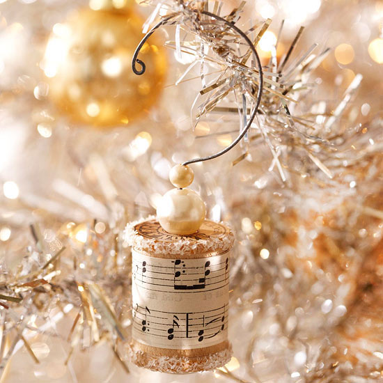 a vintage homemade ornament music sheets