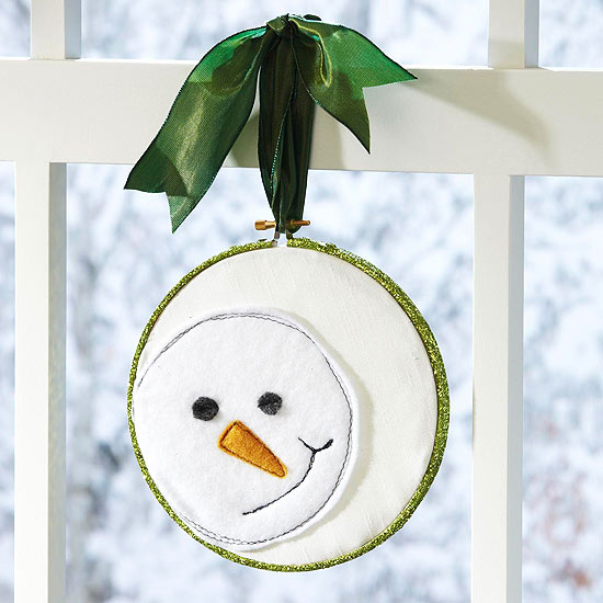 Homemade Christmas a stitched snowman
