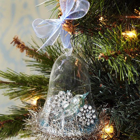 a glass snow bell tree ornament