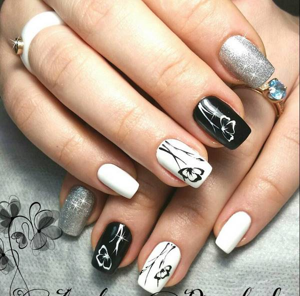 elegant black and white manicure ideas with flowers