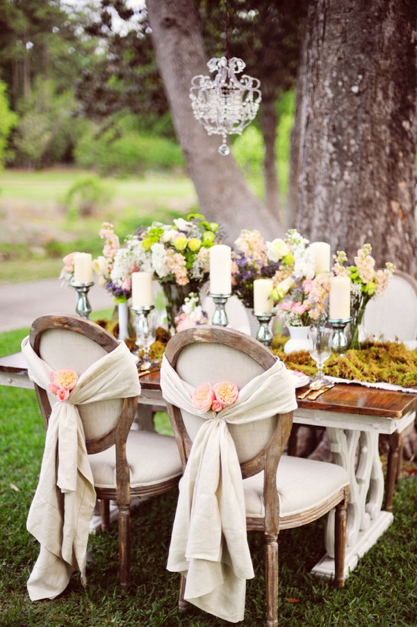 vintage shabby chic wedding table decoration crystal chandelier candelabras flowers
