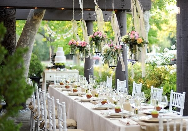 rustic shabby-chic vintage wedding decoration table centerpieces outdoor reception