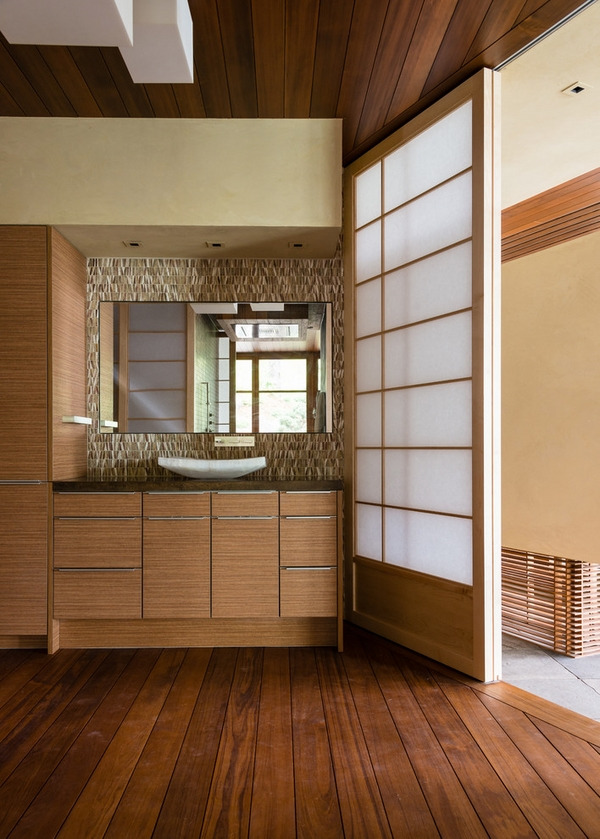 contemporary bathroom design sliding doors shoji door wood vanity