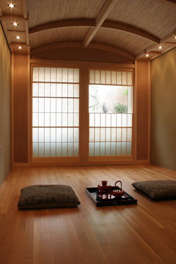 Japanese style living room minimalist living room sliding doors