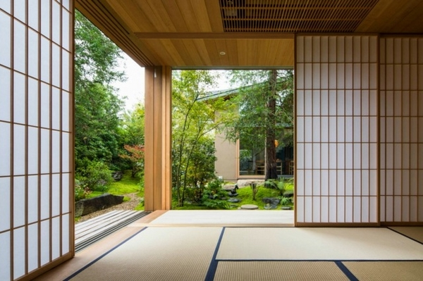 Asian style house home entry shoji door patio view