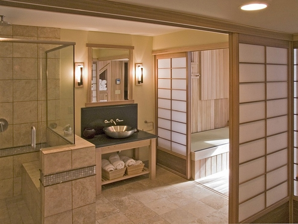contemporary bathroom design sliding doors japanese style