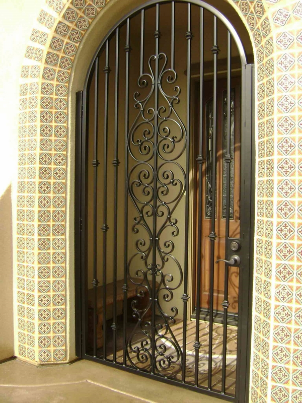 wrought iron front door ornate decoration