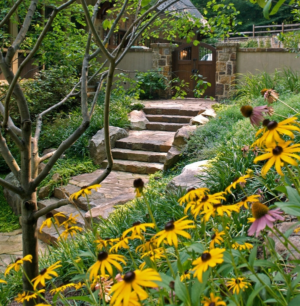 landscape ideas stone path stairs blooming flowers