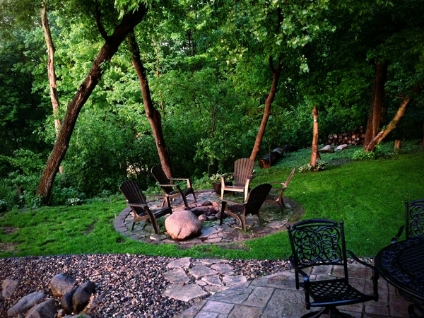 design ideas forest trees firepit iron furniture