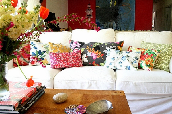 white covers colorful decorative sofa pillows home decorating ideas