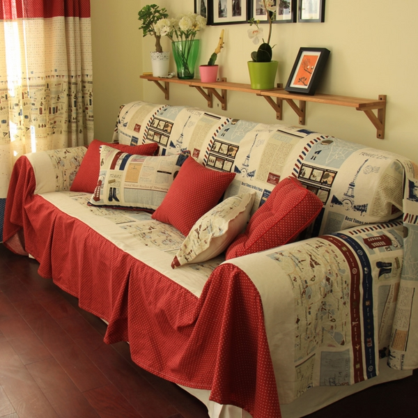 sofa cover design red beige decorative pillows