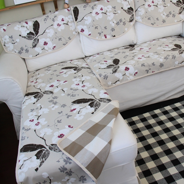 contemporary sectional sofa floral motifs