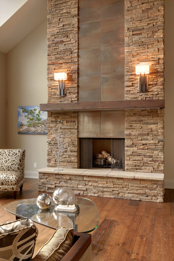 Stylish modern stone fireplace wall sconces on both sides modern living room decor ideas